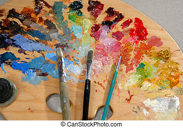 Artist's Palette wit - Artist's palette with brushes and ...