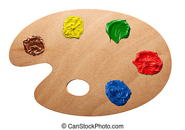 Artist's palette with multiple colors isolated