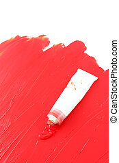 Artist\'s red paint - Red color of artist\'s oil paint...
