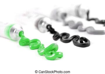artist's, schwarz, farben, grün