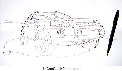 Artists sketch of a car