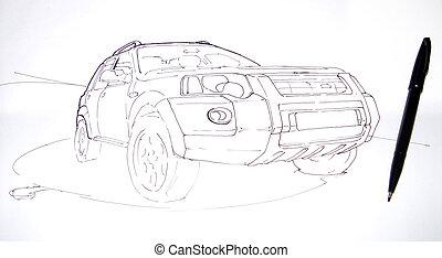 Artists sketch of a car