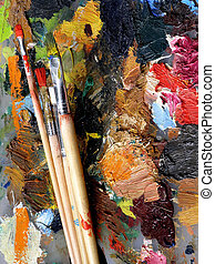 palette - artist\'s stained palette and four different...
