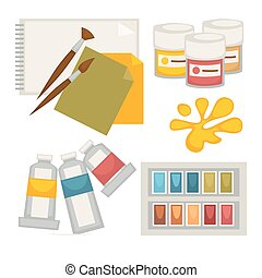 Artists supplies set in colors isolated on white vector poster