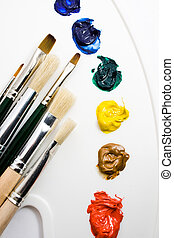 Artists paint brushes and paints