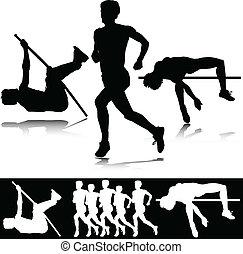 artletieksporten, vector, sportende, silhouettes