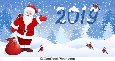 ?artoon, サンタクロース, ∥で∥, クリスマスの ギフト, 袋, そして, bullfinch, 上に,...