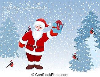 ?artoon, サンタクロース, ∥で∥, 贈り物の箱, ∥で∥, クリスマス, ボール, 中に, 彼の, 手,...