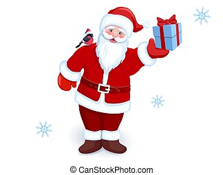 ?artoon, サンタクロース, ∥で∥, 贈り物の箱, 中に, 彼の, 手, そして, bullfinch, 上に,...