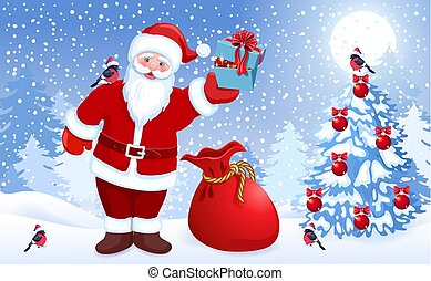 ?artoon, サンタクロース, ∥で∥, 赤, 大きい, 袋, そして, 贈り物の箱, 中に, 彼の, 手,...