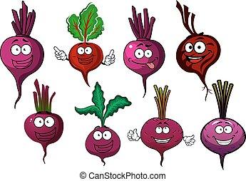 ?artoon, 隔離された, 紫色, ビート, 野菜