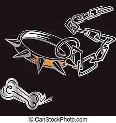 ?artoon, 骨, 鉄, 鎖, そして, ドッグカラー, ∥で∥, spikes.