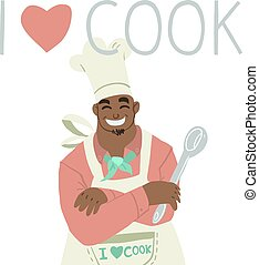 ?artoon flat greeting card banner with chef.