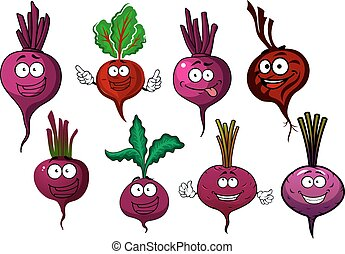 ?artoon isolated purple beet vegetables