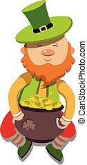 artoon Leprechaun St Patricks Day. Vector illustration