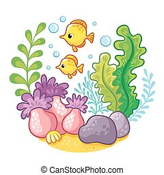 artoon underwater life.