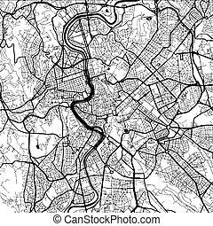 artprint, itália, monocromático, roma, mapa
