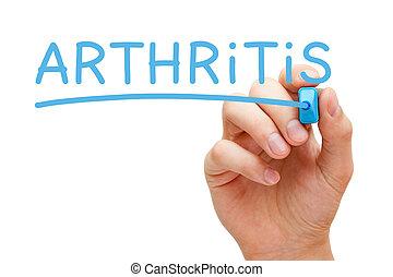 artrite, azul, marcador