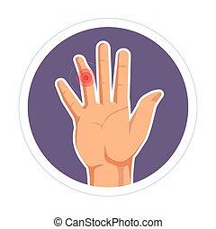 artrite, isolado, palma, dedo, human, deslocação, ferimento,...