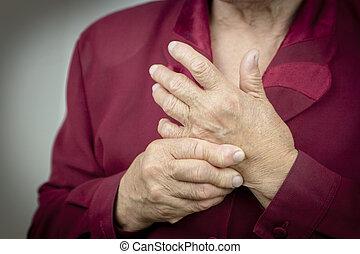 artrite, rheumatoid, mani