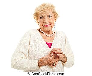 artritis, -, dificultad, con, botones