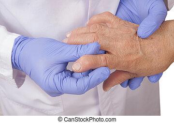 artritis, rheumatoid, 3º edad, visita, doctor, mujer