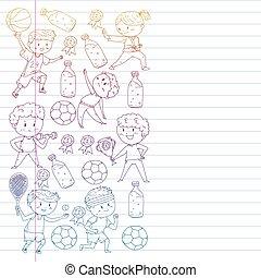 arts., サッカー, 動くこと, フットボール, ダンス, ベクトル, イラスト, 子供, activities., 心配, sport., kindergarten., 戦争である, 健康, 学校