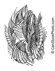 arts abstract fantastic pencil drawing