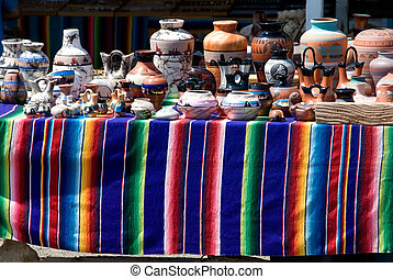 Arts and craft table - Native american pottery on colorful...