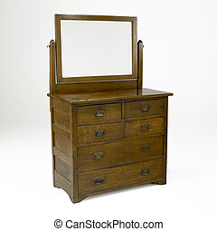 arts and crafts oak dresser with mirror