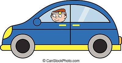 arts, auto, -, illustratie, vector, professioneel, het reizen, spotprent