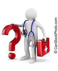 arts, beeld, vrijstaand, achtergrond., stethoscope, witte ,...