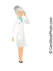 arts, beweeglijk, klesten, telefoon., senior, kaukasisch