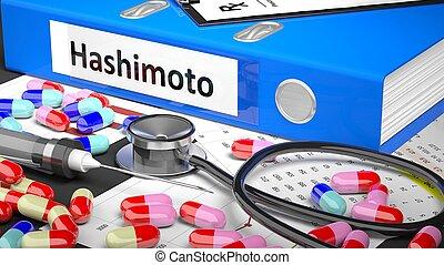 arts, blauwe , map, medicaments, supplies., tafel, medisch