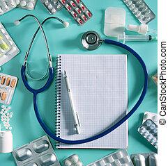 arts, bureau, werkplaats, stethoscope, spiraalvormig notitieboekje