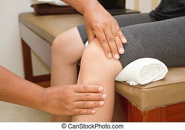 arts, controleren, de, kniegewricht