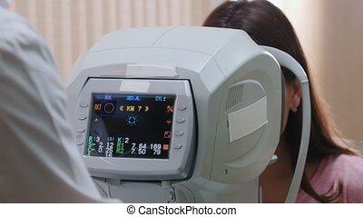 arts, controleren, werkende , visueel, -, behandeling,...
