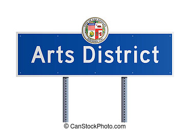Arts District - Isolated blue road sign Arts District with...