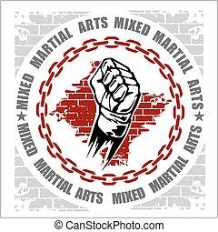 arts, emblème, martial, mélangé, mma, insignes