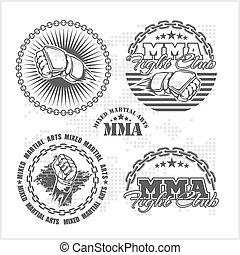 arts, emblème, set., -, martial, vecteur, mélangé, mma, insignes