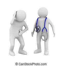 arts en patiënt, op wit, achtergrond., vrijstaand, 3d, beeld