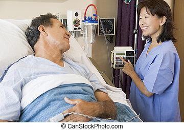 arts en patiënt, sprekend aan, elkaar