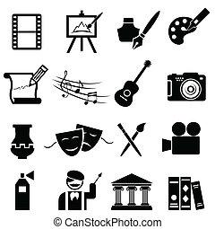 arts, ensemble, amende, icône