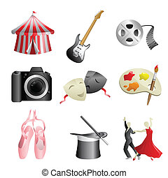 Arts entertainment icons - A vector illustration of arts and...