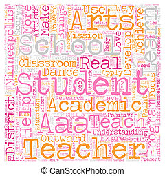 Arts for Academic Achievement Help Students in Minneapolis Schools text background wordcloud concept