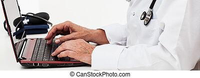arts, gebruikende laptop, op het werk