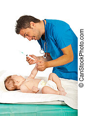 arts, gereed, om te, vaccin, baby