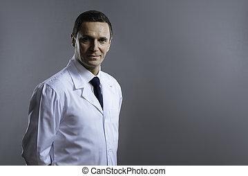 arts, grijze , het kijken, achtergrond, serieuze , smart