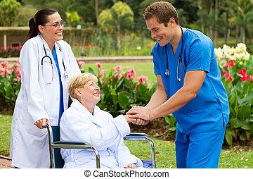 arts, groet, het terugkrijgen, patiënt