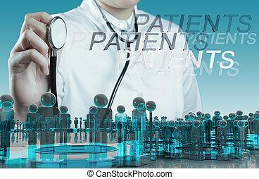 arts, hand, met, een, stethoscope, medisch concept